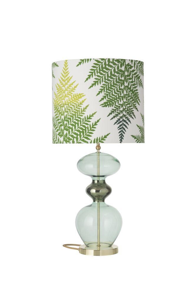 Forest Green Futura Table Lamp With A Fern Leaves Graphic Green Shade Beautiful Table Lamp Lamp Table Lamp