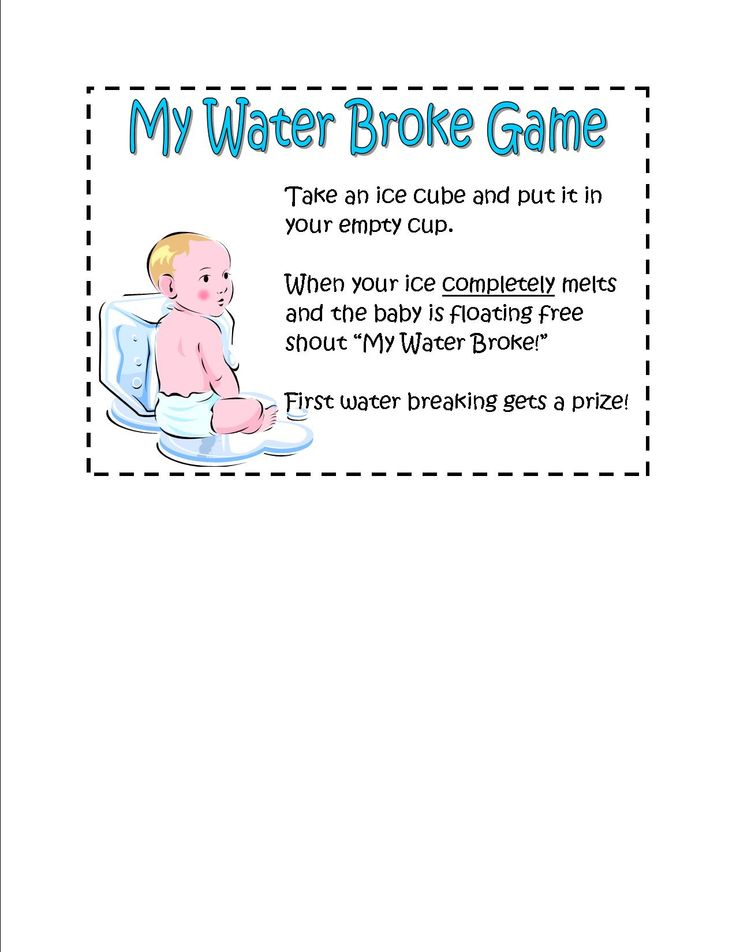 my water broke game directions sign for baby shower freeze mini