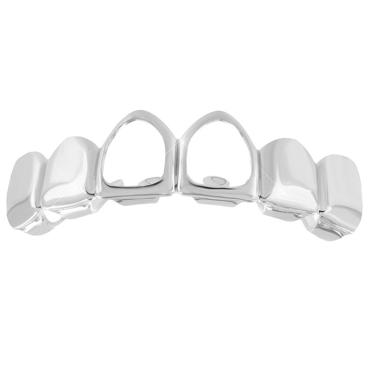 Designer Cut Out Top Teeth Grillz 14k White Gold Finish