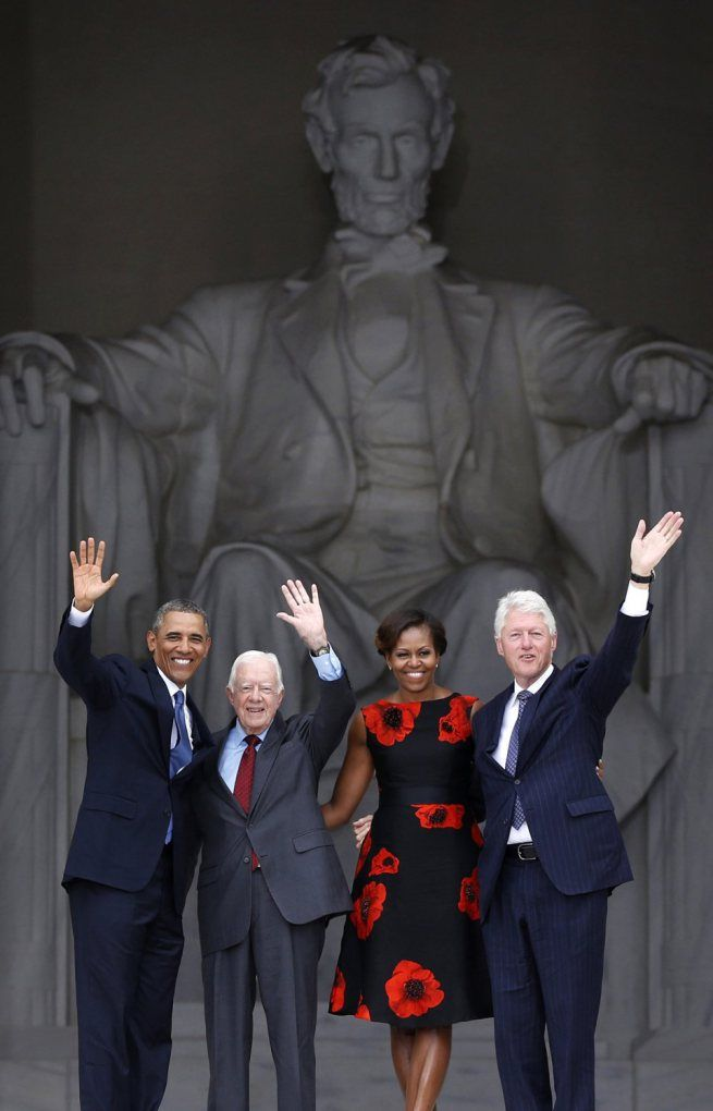 President Barack Obama, First Lady Michelle Obama and former Presidents Jimmy Carter and Bill Clinton at the 50th Anniversary of the March on Washington. August 28, 2013