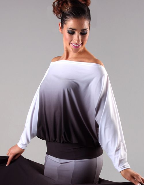 Black and white slouchy top www.phoxdanceacademy.com