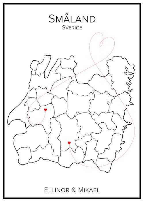 Kärlekskarta. Småland. Sverige. Map. City print. Print. Affisch. Tavla. Tryck. Stadskarta.