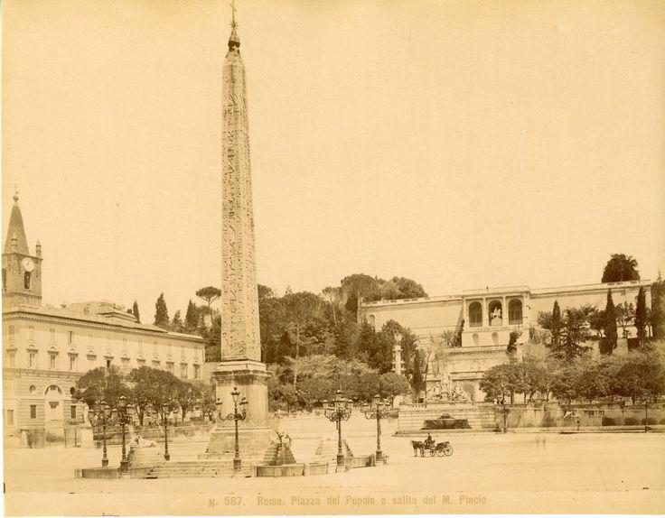 Italie, Roma, Piazza del Popolo Vintage albumen print Tirage albuminé 20x25 Circa 1875