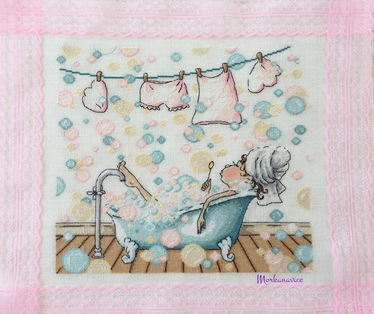 Crossstitch / etamin / blowing bubbles