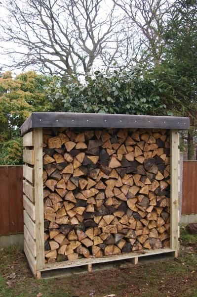 Felt roofed pallet log shed