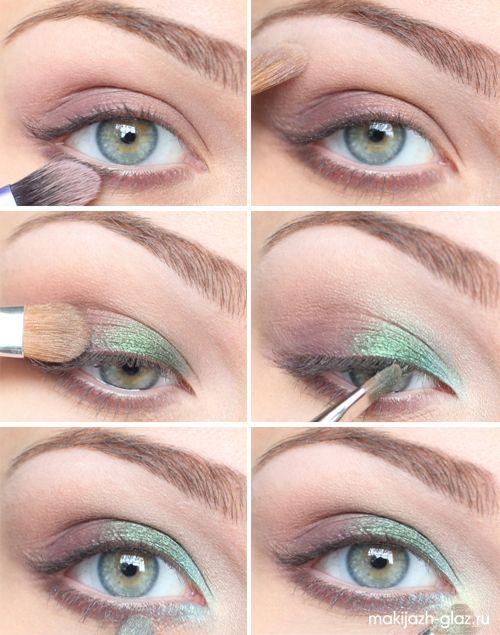 Дневной макияж для голубых глаз поэтапно