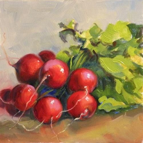"Daily Paintworks - ""Summer Radishes"" by Sandra Kavanaugh"