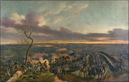 Bataille de Montmirail, lithographie d'après le tableau de Horace Vernet. Représentation de l'attaque finale sur Marchais par la division Ricard et deux bataillons de Vieille-Garde