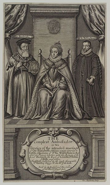 Queen Elizabeth I;Sir Francis Walsingham;William Cecil,1st Baron Burghley, by William Faithorne (died 1696),given to the National Portrait Gallery,London in 1916.