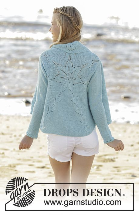Andromeda - Knitted jacket worked in a circle with leaf pattern in DROPS Alpaca. Free knitting pattern by DROPS Design