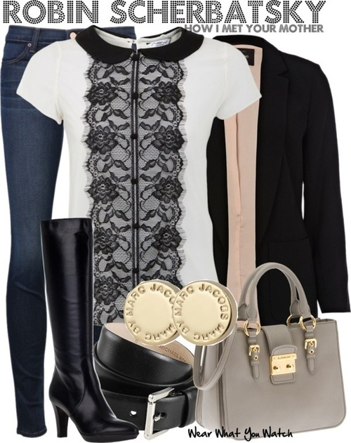 Make that blouse over a white tee and add a grey or black cardigan. Keep the peach scarf, black pants, and boots.