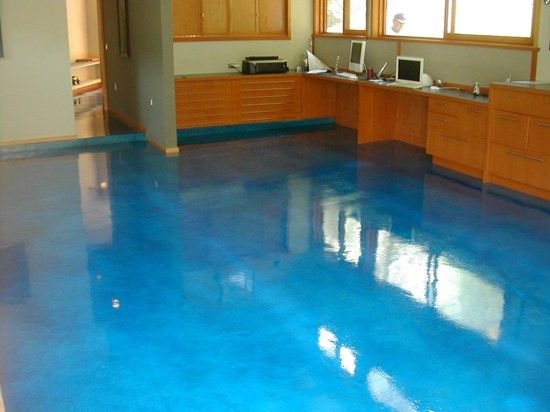Home Office Stained Concrete Smith Paints Ocean Blue Dye