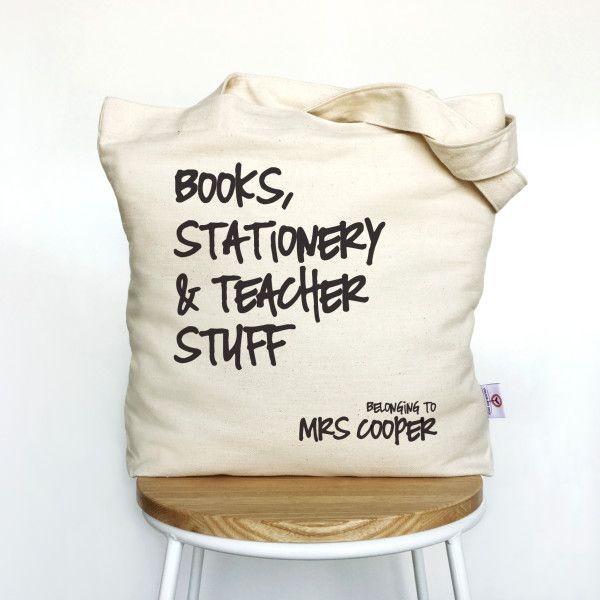 These gorgeous personalised tote bags make a great gift idea for teachers, mum, sisters and girlfriends. They are constructed from thick 100% cotton twill