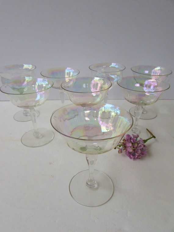 The prettiest imaginable glassware. | Set of 8 Mid Century Modern Champagne Glasses by McBeanHomeVintage