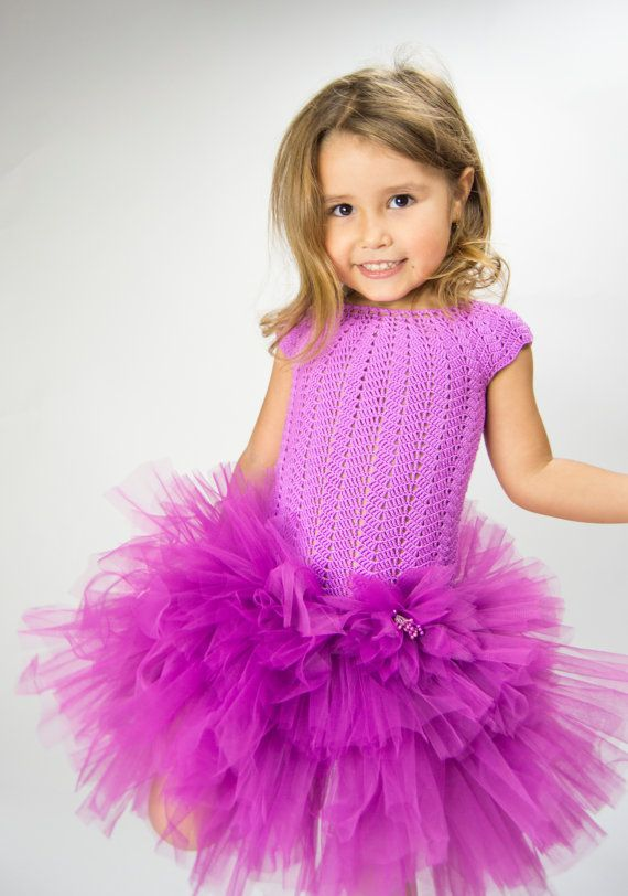 Girl tutu dress with cup sleeves and fluffy от AylinkaShop