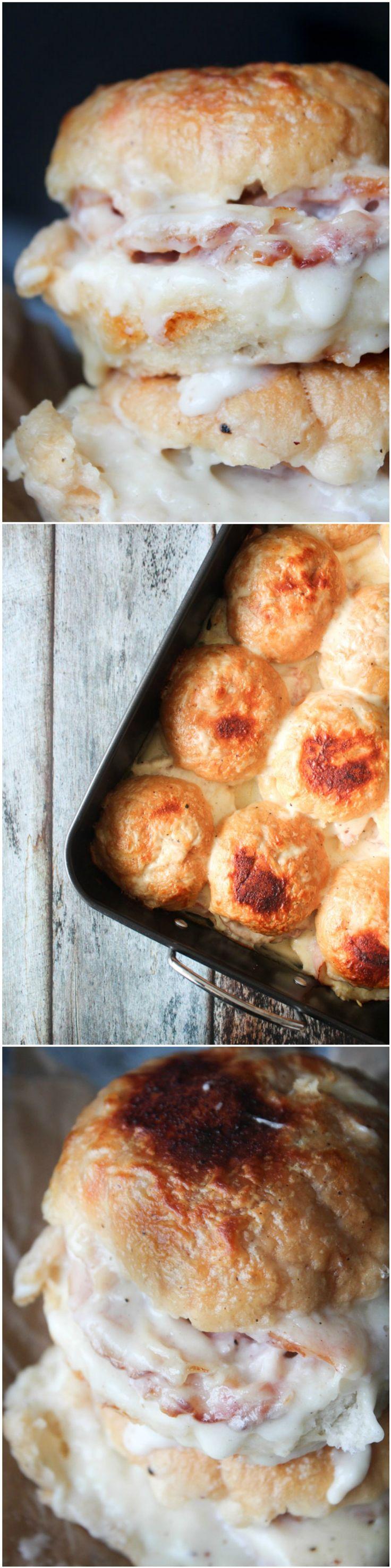 Homemde croque monsieur slider casserole - cheese and ham sliders - homemade casserole