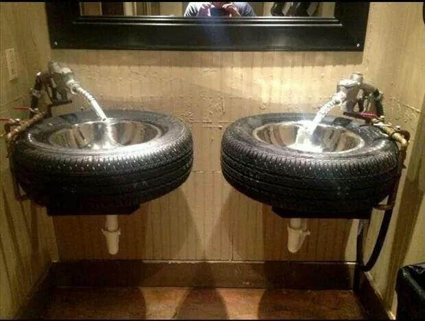 Car lovers bathroom.