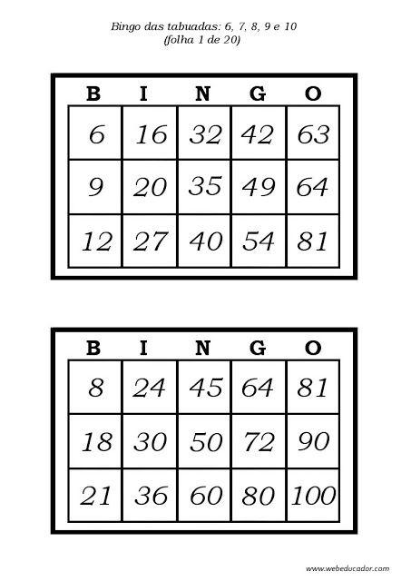 Cartelas de bingo da tabuada DO 6,7,8,9 E 10                                                                                                                                                                                 Mais