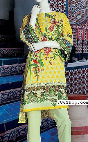 Yellow Lawn Suit | Buy Junaid Jamshed Eid Collection Pakistani Dresses and Clothing online in USA, UK