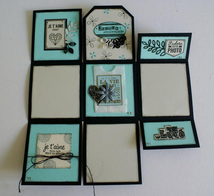 Mini album à déployer découpé dans une feuille 30 x 30 cm - visuels