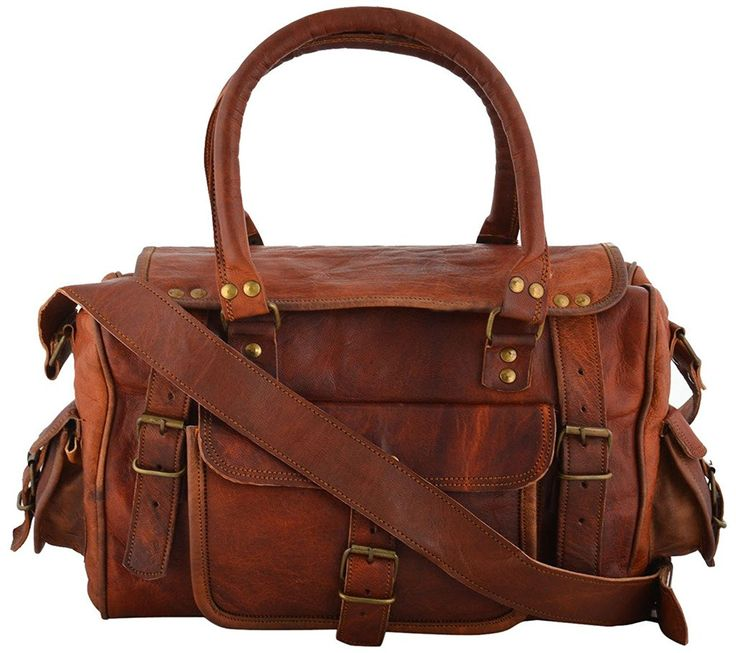 Rustic Leather Village Goat Vintage Leather Tote Medium Messenger Bag 9*12*4 Inches ** Details can be found by clicking on the image.