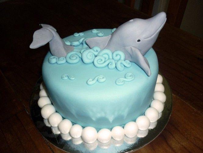 Magnifique #gâteau d'#anniversaire sur le thème de la mer et du #dauphin.