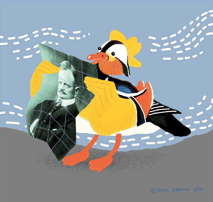 Mandarin Duck Visited Järvenpää Finland by Elina Johanna Ahonen