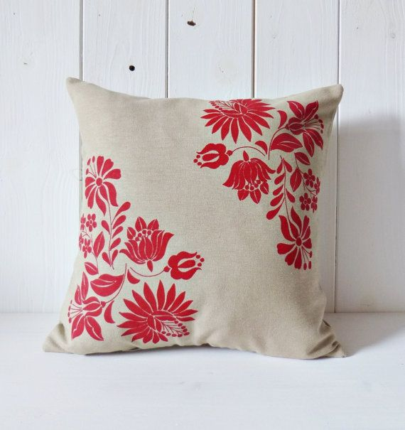 Flowers of Kalocsa handmade screen printed cushion by FolkAffair, $22.00