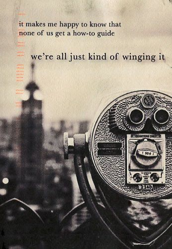 Winging it. PostSecret.