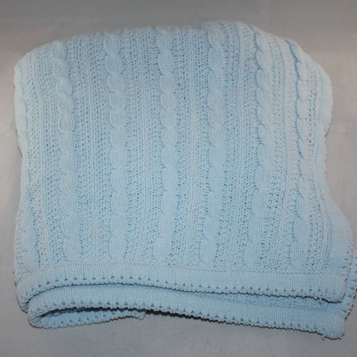Amy Coe Ltd Edition Blue Chenille Cable Knit Baby Blanket