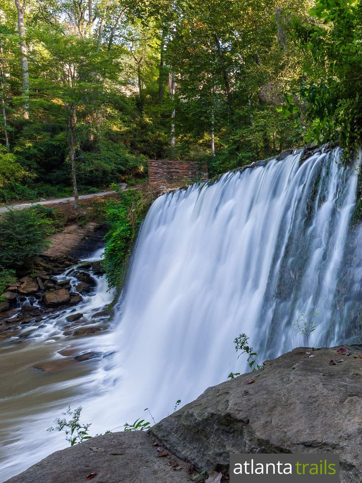 Top Atlanta hiking trails: hike the Vickery Creek Trail to an old, historic spillway dam at Roswell Mill