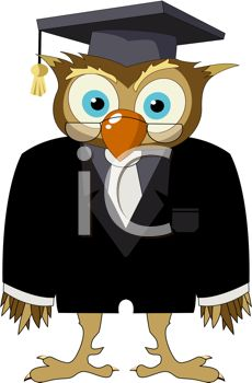 iCLIPART - Cartoon drawing of a owl in a suit with graduate hat and glasses