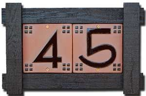 Craftsman house number tiles from Rocheford Handmade Tile
