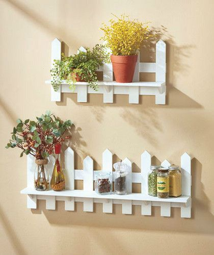 Wooden Fence Shelves White Natural Traditional Picket Fence Wall Decor | eBay