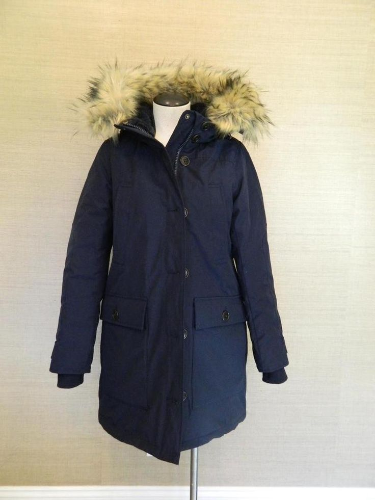 J Crew 450 Nordic Fur Parka Winter Coat Navy Xs Hooded