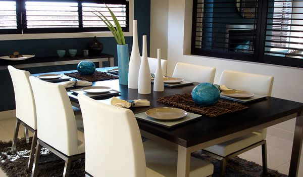 contemporary dining room with casual table setting