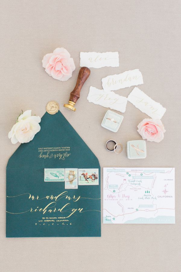 Emerald wedding invitation: http://www.stylemepretty.com/2017/05/12/triunfo-creek-vineyards-wedding/ Photography: Koman - http://komanphotography.com/