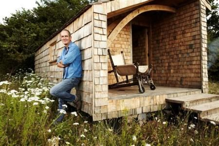 Kevin McCloud goes off grid and builds a sheda great build and the use of salvaged materials is great but is this build more like a fancy tiny house than a humble garden shed?   But it does have some quirky features that would appeal to you sheddies I think •Next to the shed there is a hot tub made from a jet engine air intake •chair made from an old tractor •home made oven, constructed using an old safe