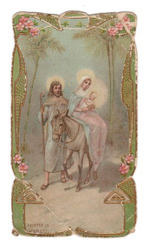 Jesus, Mary, and Joseph Vintage Holy Card. Printed in Germany. One of the Seven Sorrows of Mary.