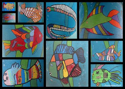 Children's Fish Paintings, ocean artwork, fish painted by children