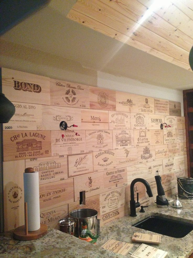 Each wine crate panel was stained with a different wood color, and treated with…
