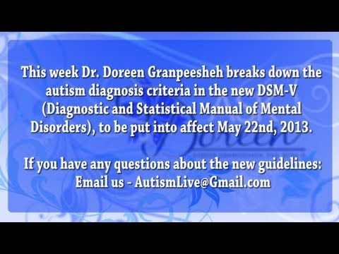 Dr. Doreen Granpeesheh breaks down the autism diagnosis criteria in the new DSM-V (Diagnostic and Statistical Manual of Mental Disorders), put into affect May 22nd, 2013.