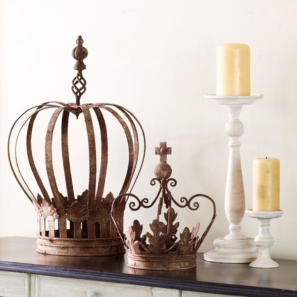 Rustic iron crowns ! For sale at Wisteria.com. (price: large = 69, smaller = 49) March 2012
