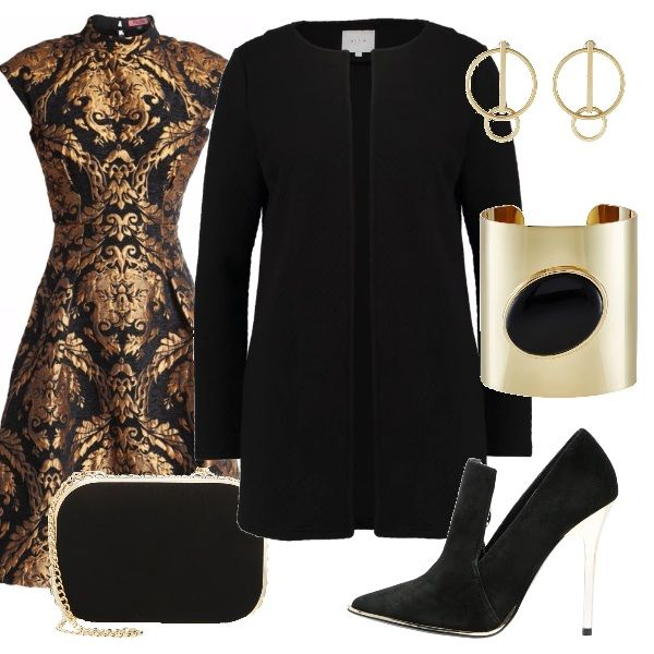 Vestito elegante nero/oro adatto per tutti i tipi di fisico, cappotto nero, pochette nera con catena oro. Scarpa nera con tacco trasparente e per dare ancora più luce, un bracciale oro con diamante nero e orecchini gold.