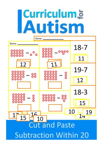 Cut and Paste Subtraction 10-20 Worksheets, Autism, Special Education