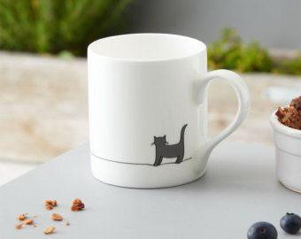 Sitting Cat and Sleeping Cat Mug  Set of Two Fine Bone China