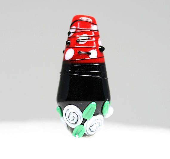 Glass Rose pendant bead Red Black Lampwork glass focal bead
