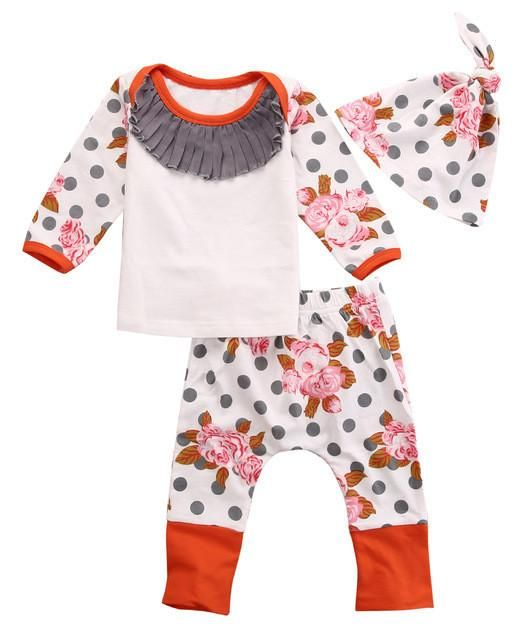 Newborn Baby Kids Girls Autumn&Winter Clothes Cotton Flower Print Polka Dots Long Sleeve Tops+ Long Pant+Hat Outfits 3pcs 0-18M - Best price in 10minus