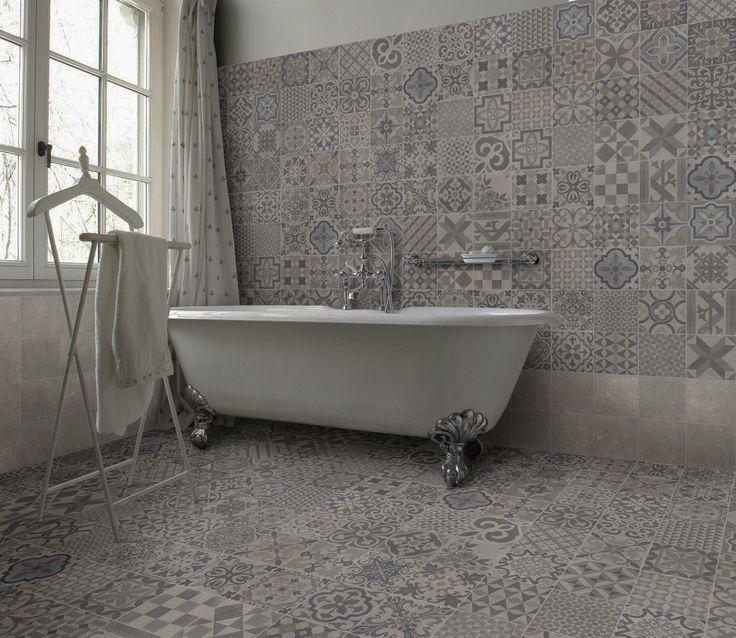 grey mosaic bathroom floor tiles