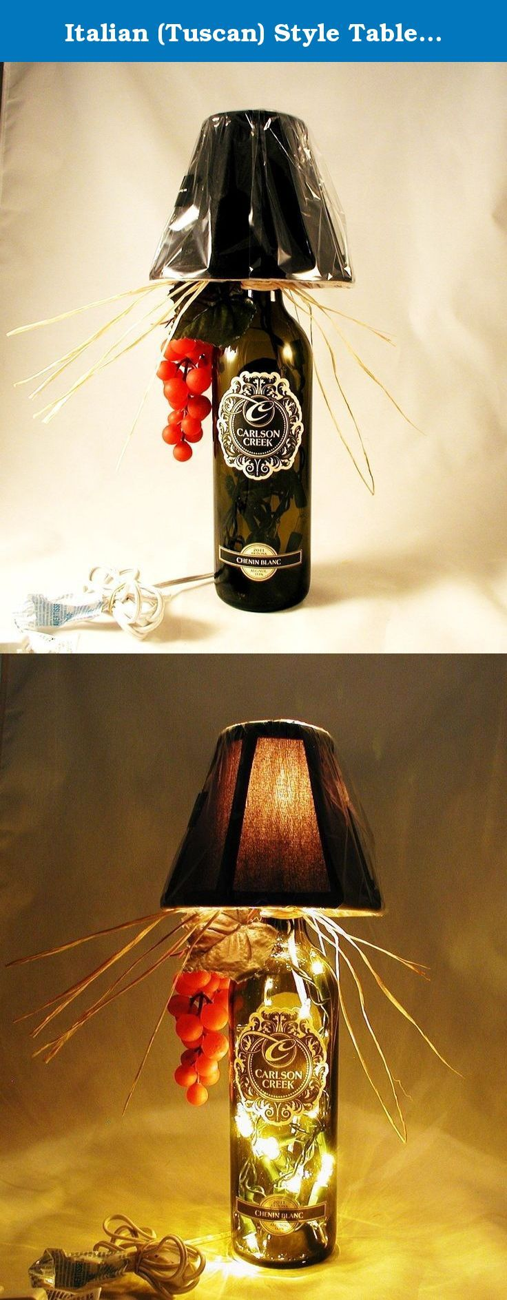 """Italian (Tuscan) Style Table Lamp Crafted From a Recycled Carlson Creek Chenin Blanc Wine Bottle.Shipping is included. Very attractive Italian style wine bottle table lamp made with a recycled Carlson Creek (An Arizona Winery) Chenin Blanc wine bottle. The bottle is light amber and the shade is black. Lamp is approximately 16"""" tall and approximately 13 """" wide (including the raffia). It has a nite light under the shade and mini lights inside the bottle. Comes with a switched cord for..."""